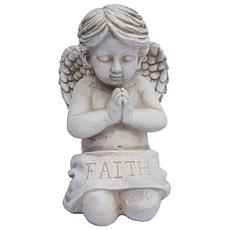 "Santa's Workshop ""Faith"" Kneeling Angel Statue - Antique White"