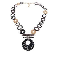 Sassy Jones Hailey Marbled Circle Drop Necklace