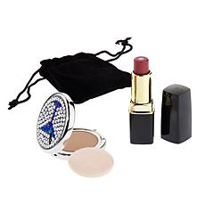 SCA Jeweled Martini Compact w/Lipstick