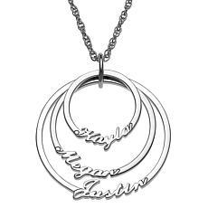 Script 3-Name Circles Necklace
