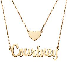 Script Name and Heart Layered Double Necklace