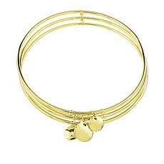 Séchic Disc d'Or 14K Yellow Gold 3-Bangle Charm Bracelet
