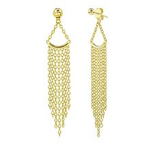 Sechic Ligne d'Or 14K Gold Curved Bar Fringe Earrings