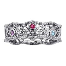 Secret Garden Family Birthstone Crystal Filigree Ring