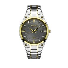 Seiko Men's 2-Tone Stainless Steel Diamond-Accent Solar-Powered Watch
