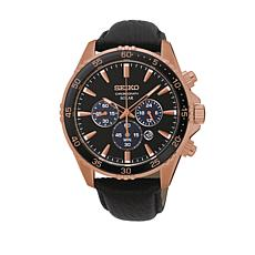 Seiko Men's Black/Rosetone Solar-Powered Chronograph Watch