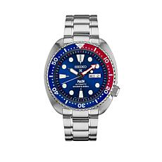 Seiko Men's Blue and Red Dial Stainless Steel Automatic Dive Watch