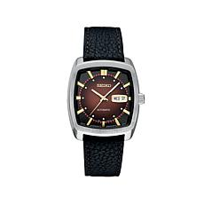 Seiko Men's Recraft Series Burgundy Dial Leather Strap Automatic Watch