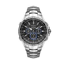 Seiko Men's Stainless Steel Black Dial Chronograph Bracelet Watch