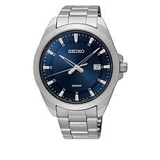 Seiko Men's  Stainless Steel Blue Dial Quartz Watch