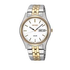 Seiko Men's White Dial 2-Tone Solar-Powered Bracelet Watch