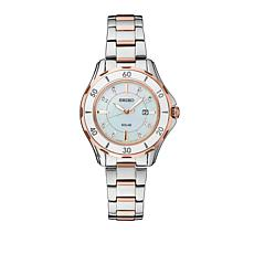 Seiko Women's Diamond-Accented Ceramic Bezel Solar-Powered Watch