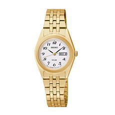 Seiko Women's Goldtone Stainless Steel White Dial Solar Watch