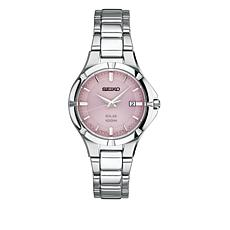 Seiko Women's Silvertone Pink Dial Solar-Powered Bracelet Watch