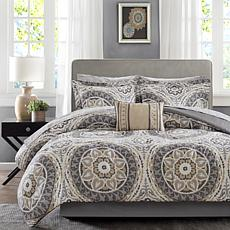 Serenity King 9-Piece Complete Bed and Sheet Set - Taup