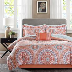 Serenity Queen 9-piece Complete Bed and Sheet Set - Coral