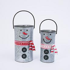 Set of 2 Nesting Metal Snowman Buckets