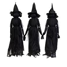 Set Of 3 Lighted Halloween Witch Stakes