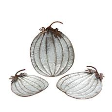 Set of 3 Nesting Rustic Metal Pumpkin Plates
