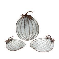 Set of 3 Nesting Rustic Metal Pumpkin Plates