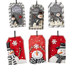 Set of 6 Clay Snowman Ornaments