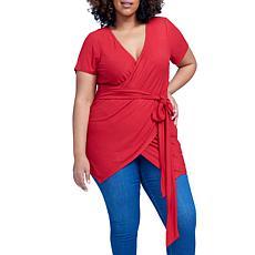 Seven7 Faux Wrap Top - Haute Red