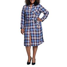 Seven7 Perfect Shirt Plaid Dress - Blue Combo