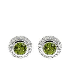Sevilla Silver™ 0.86ctw Peridot and Diamond Accent Stud Earrings
