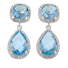 Sevilla Silver™ 10.92ctw Blue Topaz and Gem Double Drop Earrings