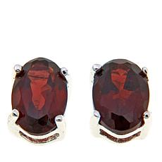 Sevilla Silver™ 1.1ctw Oval Garnet Stud Earrings