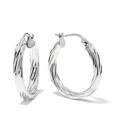 "Sevilla Silver™ 13/16"" Diameter Flat Twist Hoop Earrings"