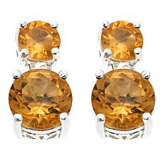 Sevilla Silver™ 1.77ctw Round Citrine Double Drop Earrings