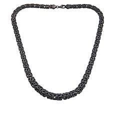 "Sevilla Silver™ 18"" Black Rhodium-Plated Graduated Byzantine Necklace"