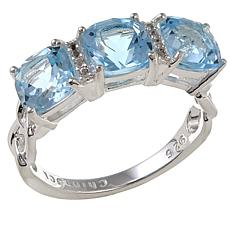 Sevilla Silver™ 2.41ctw Blue Topaz and White Topaz 3-Stone Ring