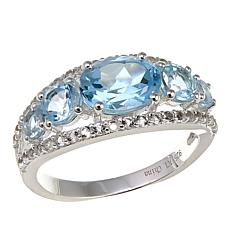 Sevilla Silver™ 2.48ctw 5-Stone Blue Topaz and White Topaz Ring