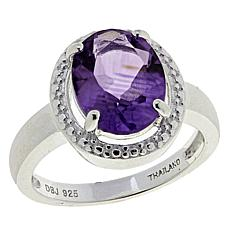 Sevilla Silver™ 2.4ct Oval Amethyst Halo Ring