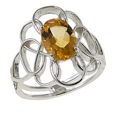 "Sevilla Silver™ 2ct Citrine ""Flower"" Ring"