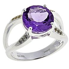Sevilla Silver™ 3.11ctw Amethyst and White Topaz Crisscross Shank Ring