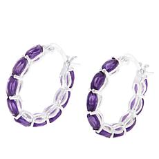 Sevilla Silver™ 3.24ctw Oval Amethyst Hoop Earrings