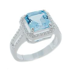 Sevilla Silver™ 3.35ctw Cushion-Cut Blue Topaz Diamond-Accented Ring