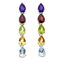 Sevilla Silver™ 4.22ctw Pear-Shaped Multigemstone Drop Earrings