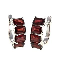 Sevilla Silver™ 5.6ctw Emerald-Cut Brown Garnet Hugger Hoop Earrings