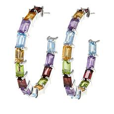 Sevilla Silver™ 9.4ctw Multigemstone Hoop Earrings