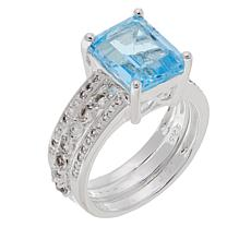 Sevilla Silver™ Blue Topaz and White Topaz Ring Guard Set