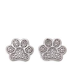 Sevilla Silver™ Diamond-Accent Paw Print Stud Earrings