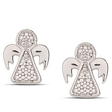 Sevilla Silver™ Diamond-Accented Angel Stud Earrings