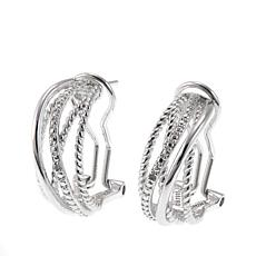 Sevilla Silver™  Diamond-Accented Multi-Row Open Hoop Earrings
