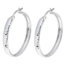 Sevilla Silver™ Diamond-Cut Ridge Hoop Earrings
