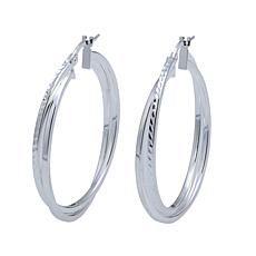 Sevilla Silver™ Diamond-Cut Twisted Hoop Earrings