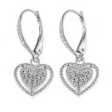 Sevilla Silver™ Diamond Press Heart Drop Earrings